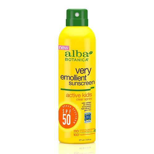 Alba Botanica Sunscreen Spray, SPF 50, Active Kids, Clear Spray, 6 Oz