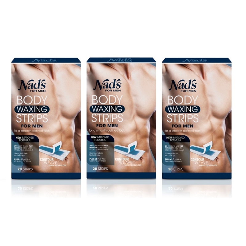 3-Pack Nad s For Men Body Waxing Strips, 20 Count 511bd0bb1172