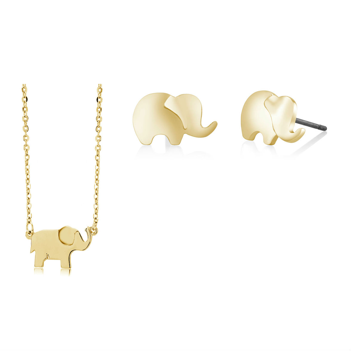 Elephant Stud Earrings  amp  Necklace Set - 3 Colors