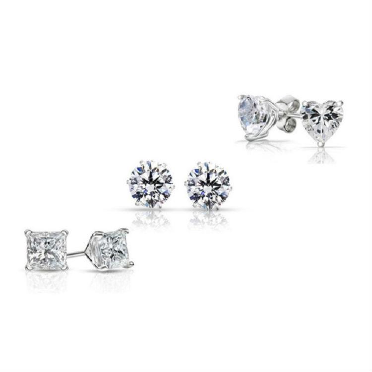 3-Pack  Sterling Silver Cubic Zirconia Stud Earring Set