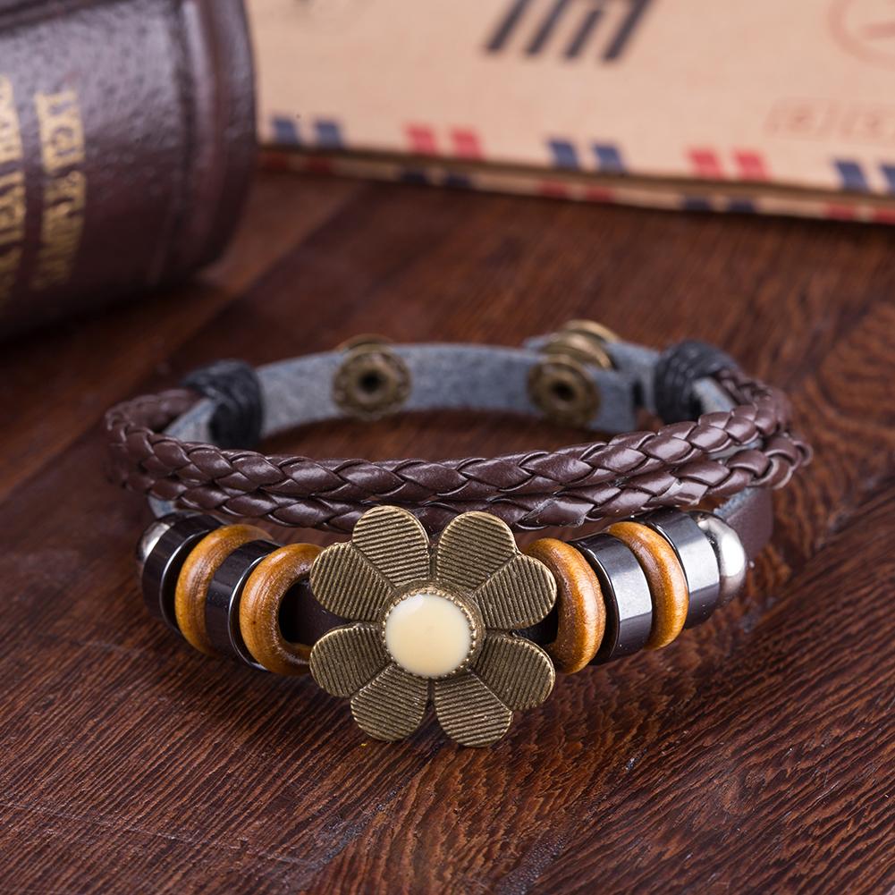 Black Leather Beige Floral Petal Bracelet