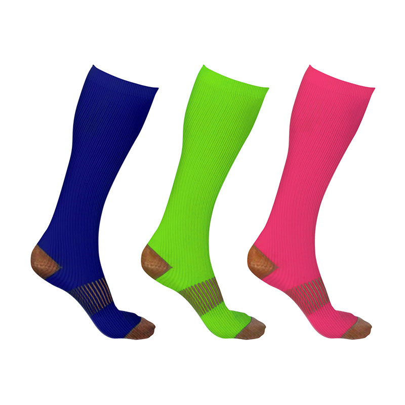 3-Pairs Unisex Copper-Infused Knee-High Compression Socks 9630155
