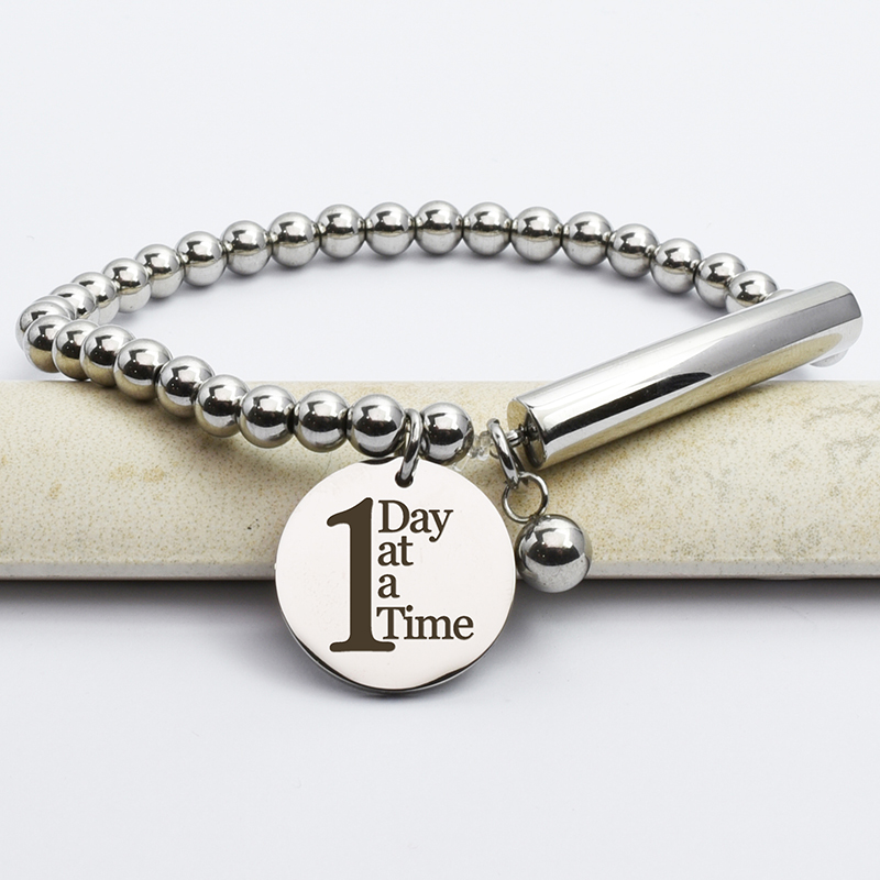 Stainless Steel 1 Day At A Time Bead And Bar Bracelet