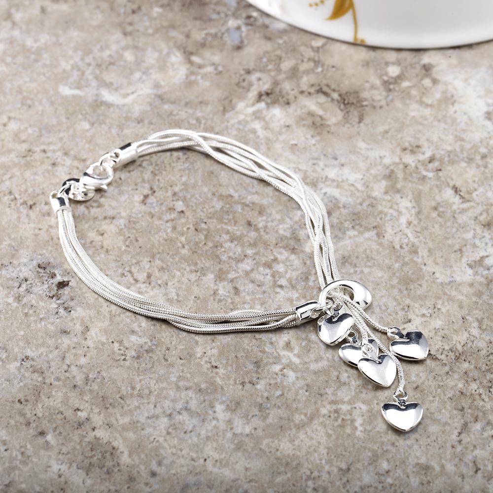 Designer Inspired Three Bracelet Heart Charms