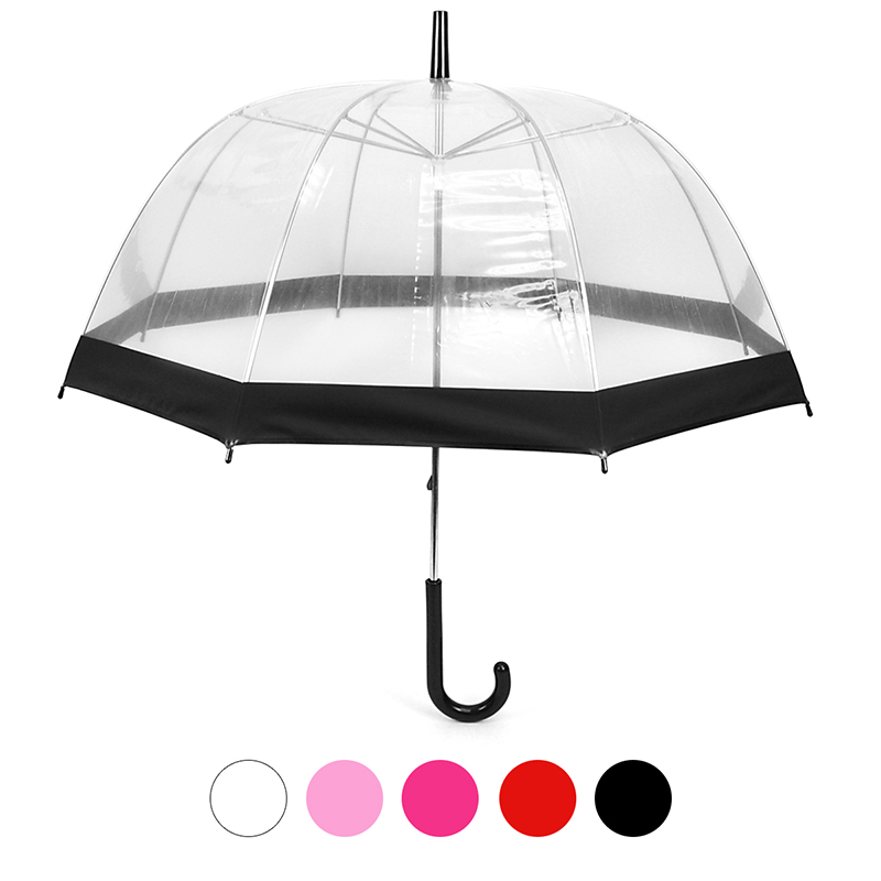 See-Thru-Bubble Wind-Resistant Premium Clear Umbrella with Color Borde