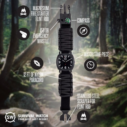 Survival Watch with Military Paracord - 2 Colors