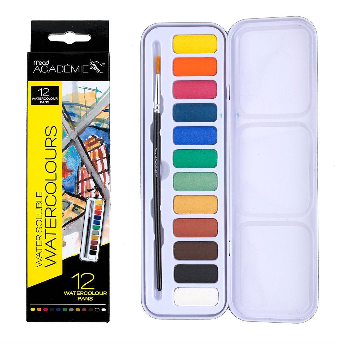 Mead Academie Watercolor Pan Set, 12 Colors