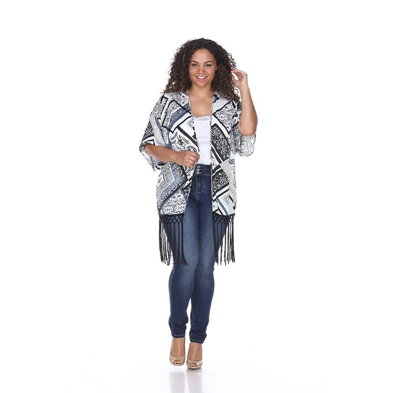 Women s Plus Size Fringed Kimono