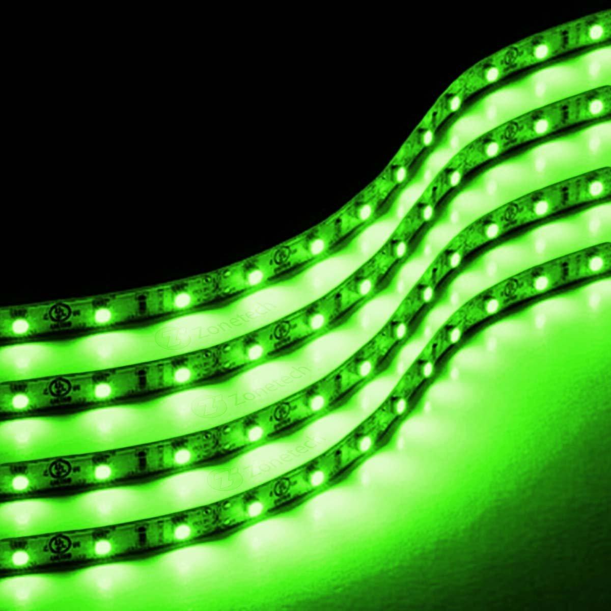 Zone Tech 4x Green 30cm LED Car Flexible Waterproof Lighting Light Str