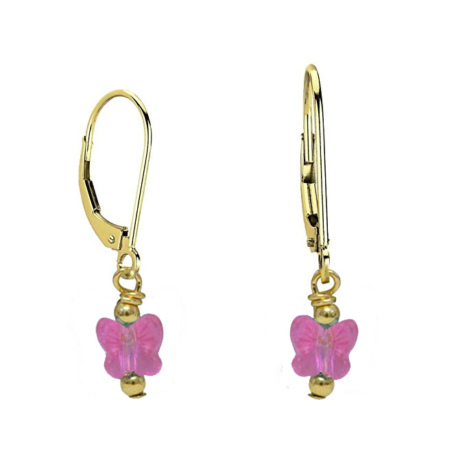 Gold Filled Swarovski Crystal Butterfly Earrings - 5 Colors