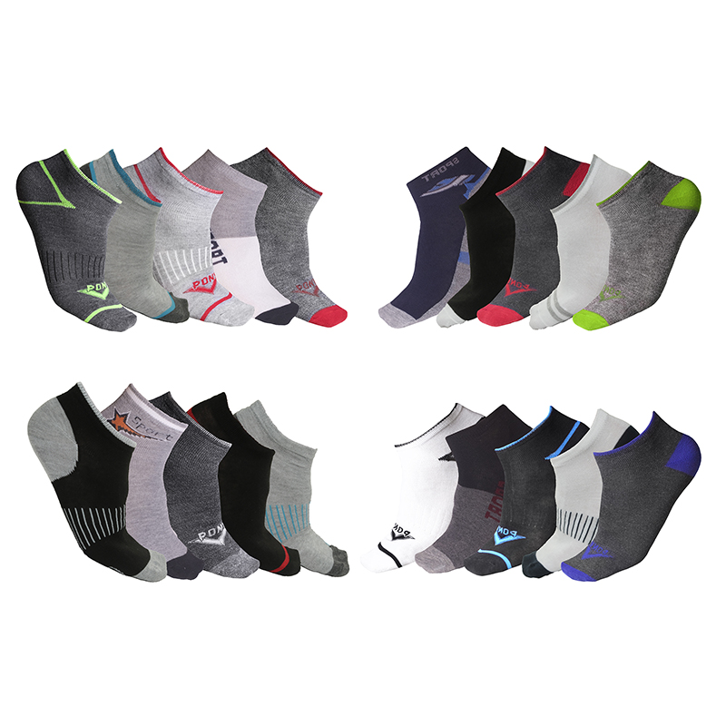 20-Pair Men's Moisture Wicking Low-Cut Socks