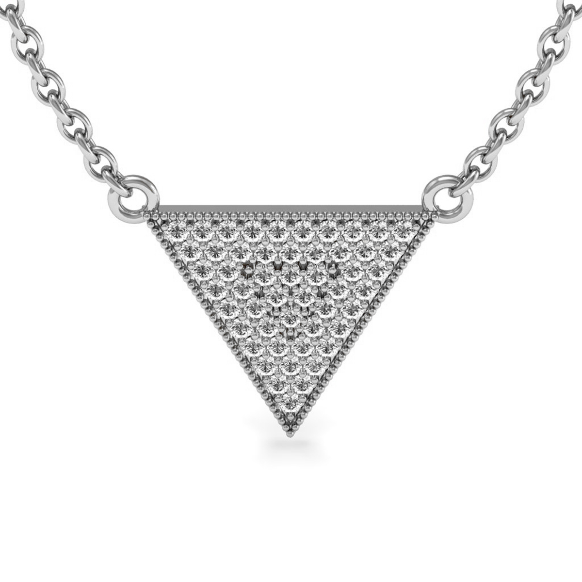Sterling Silver 1 3 Carat Diamond Triangle Necklace