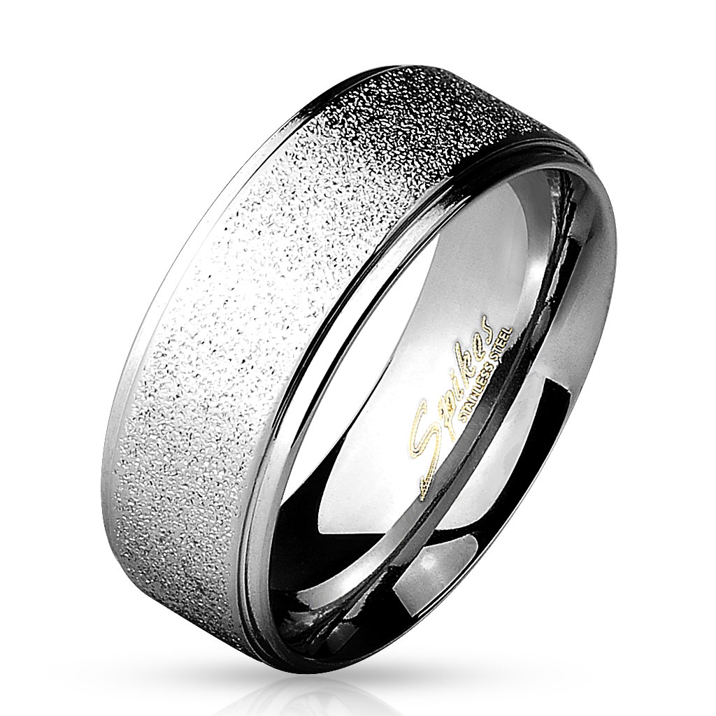 Men s 8mm Grooved Sand Blasted Stainless Steel Ring