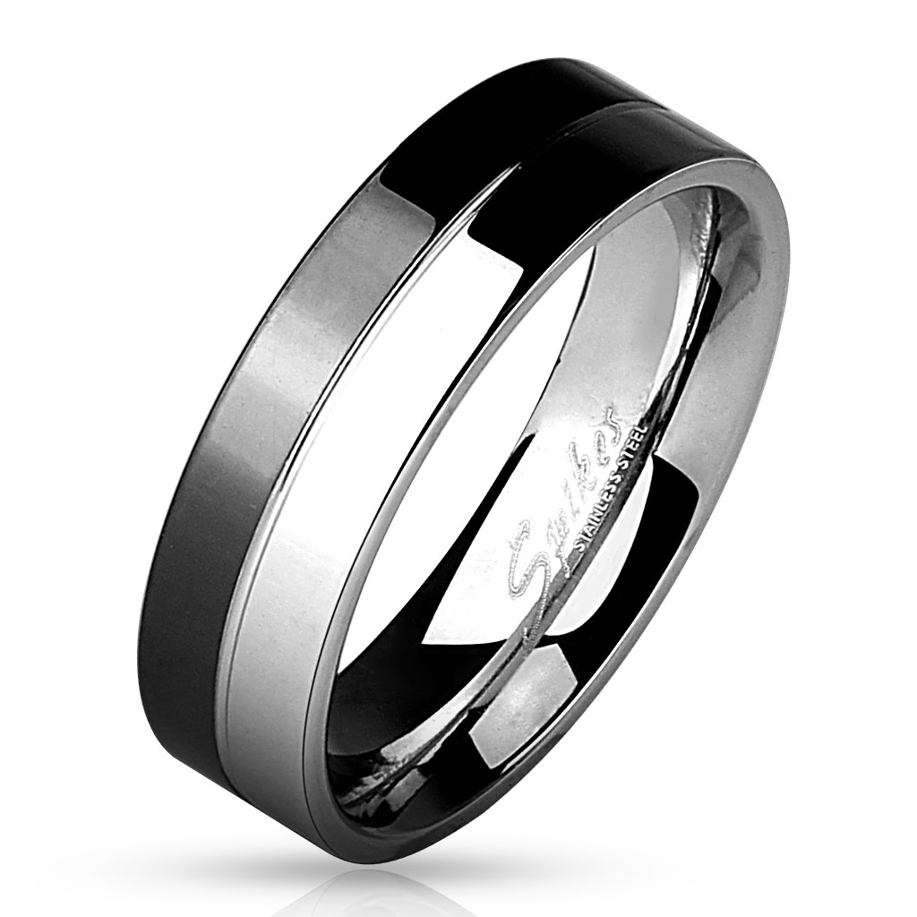Men s 8mm Two Tone Black Stainless Steel Ring
