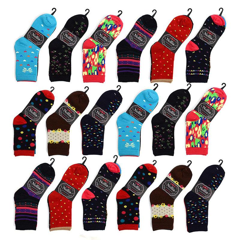 6 Pairs Womans Parquet Printed Dress Socks