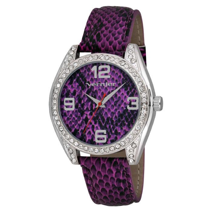 Vernier Women s Dazzling Purple Snake Pattern Fashion Watch
