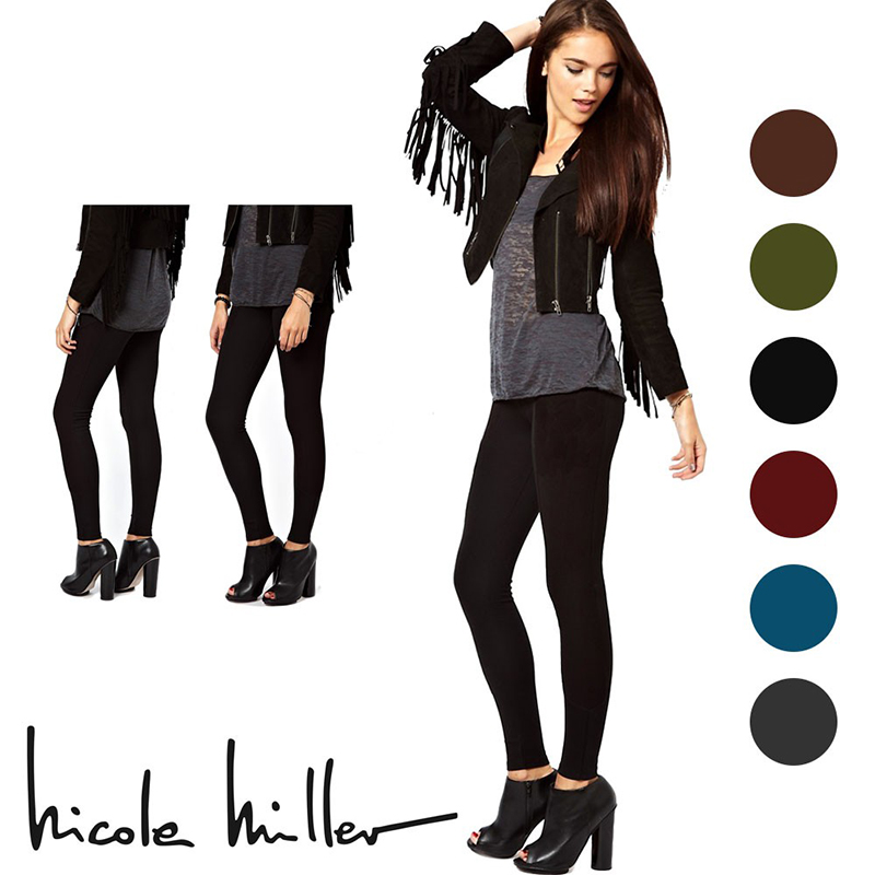 6 Pairs  Nicole Miller Fleece Lined Footless Tights (S-2X)