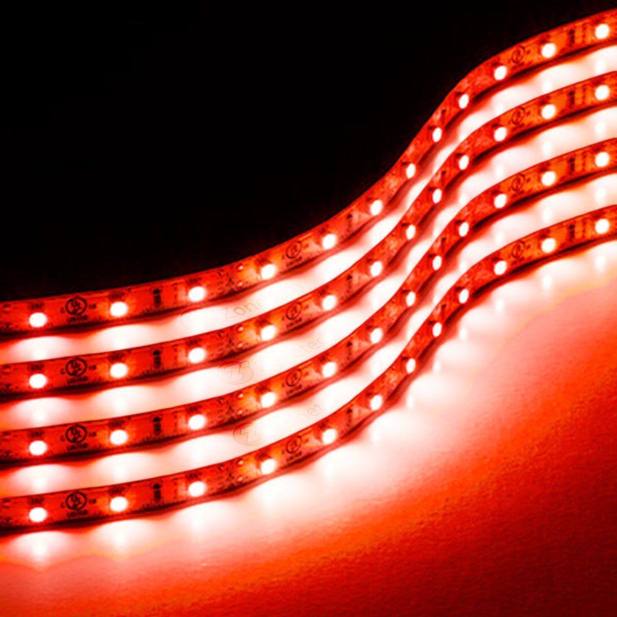 Zone Tech 4x Red 30cm 15 LED Decorative Flexible Waterproof Lighting S