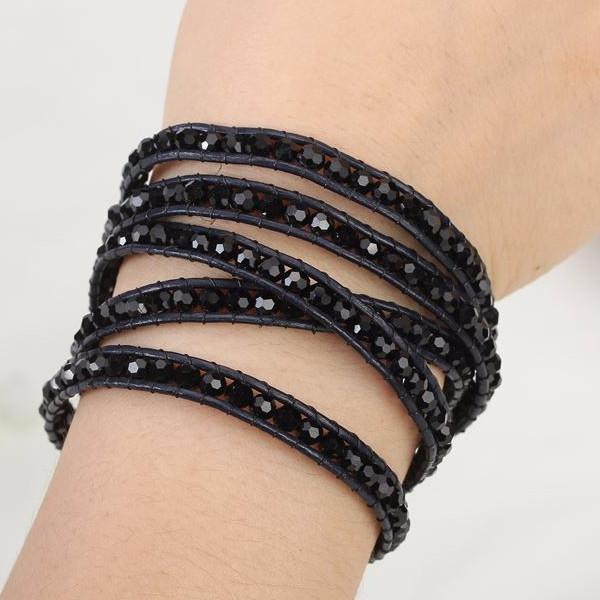 Midnight Crystal Beads Wrap Bracelet