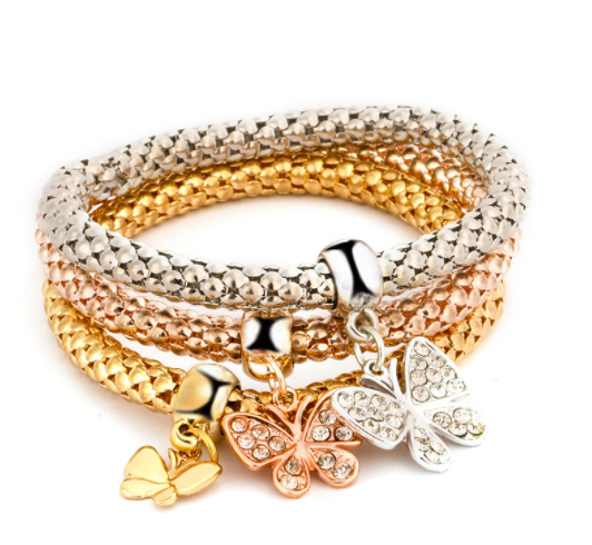 Fly With Love Butterfly Three Charms Bracelet Set
