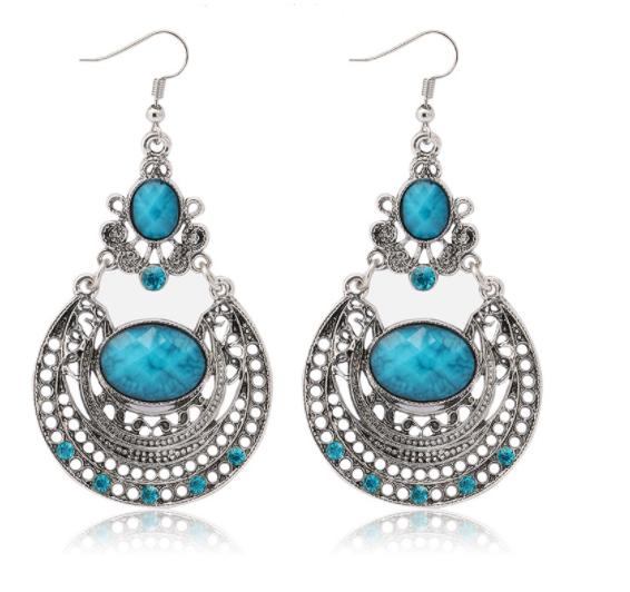 Boho Vibes Aqua Stone Dangle Earrings