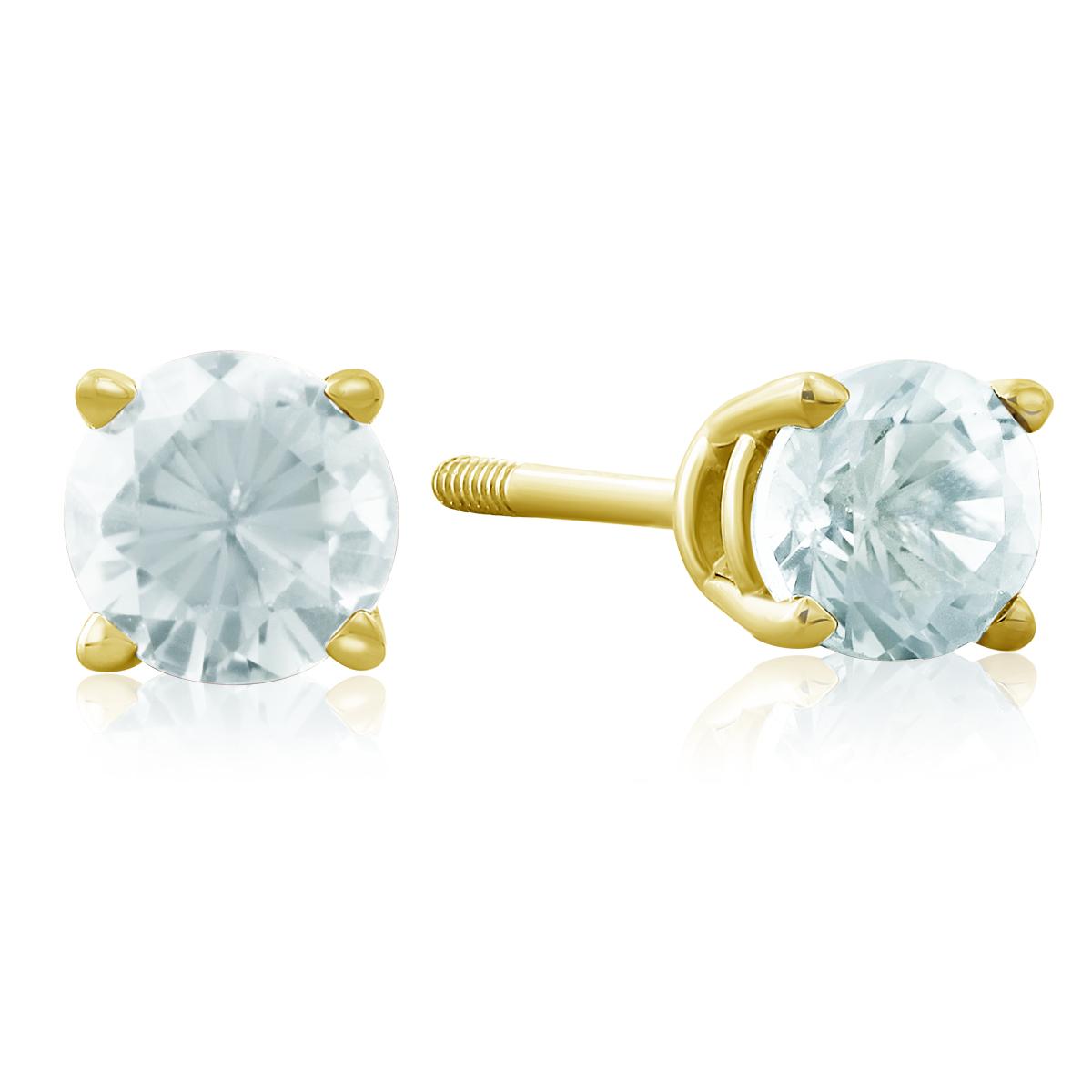 1 2 Carat Aquamarine Stud Earrings in 14k Yellow Gold