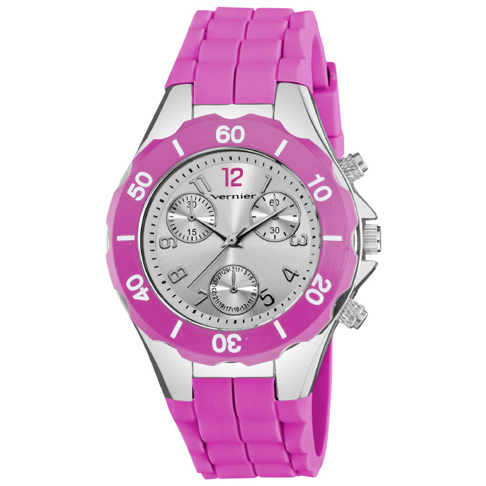 Women s Sport Chrono-Look Silver and Magenta Silicone Strap Watch