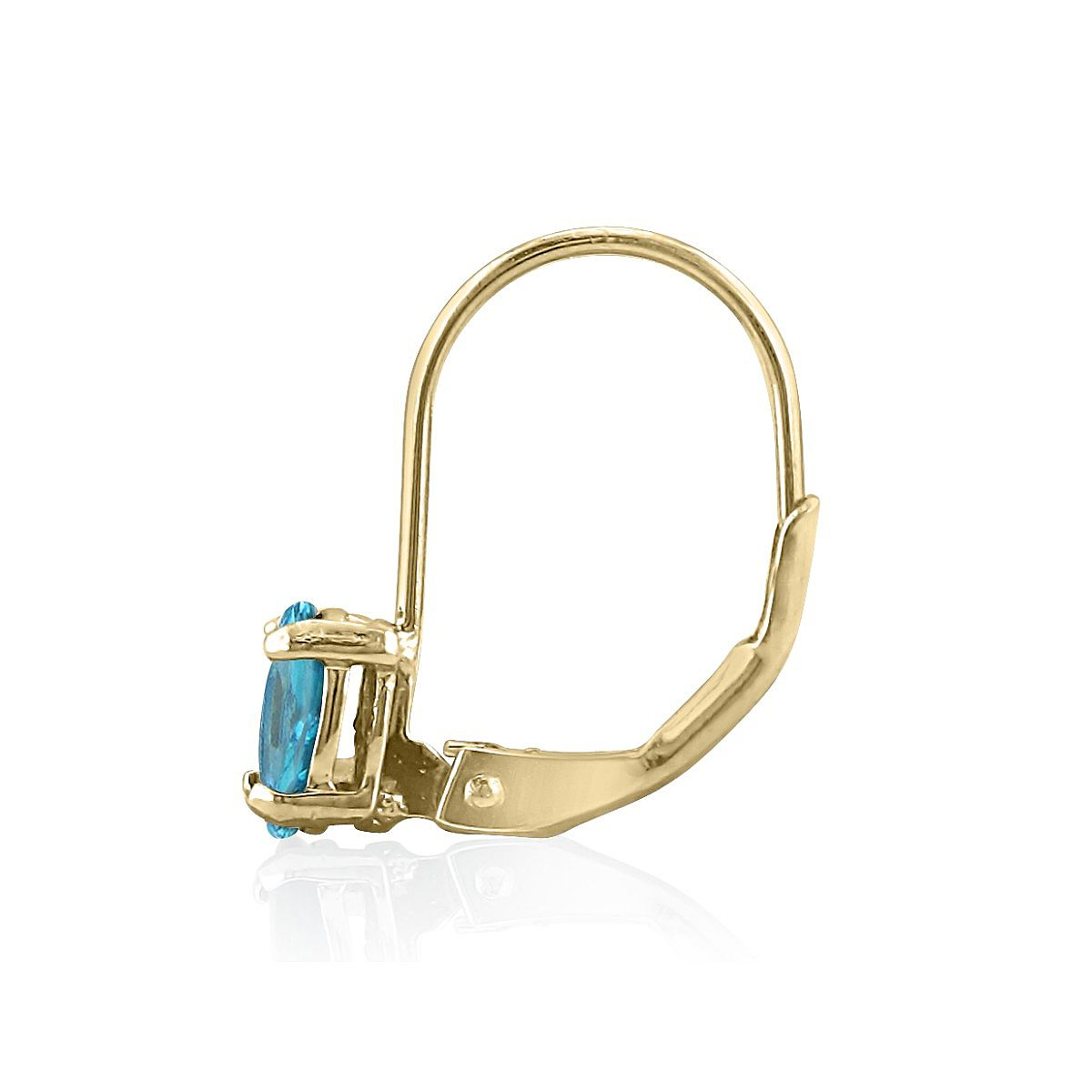 1ct Oval Blue Topaz Solitaire Leverback Earrings in 14k Yellow Gold