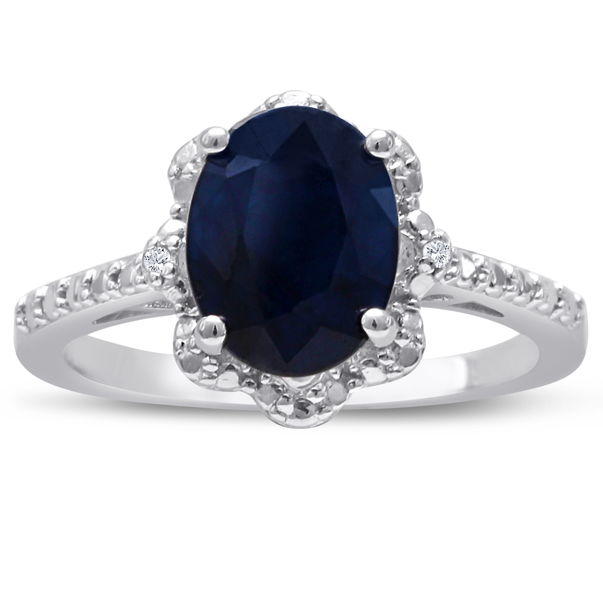 Sterling Silver 2ct Oval Floral Halo Sapphire and Diamond Ring
