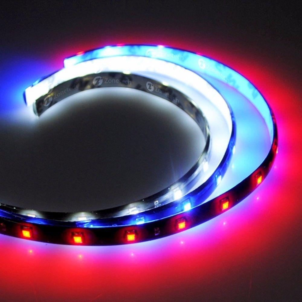 Zone Tech 9x Flexible Waterproof Light Strips 15 LED Car Red, Blue, Wh
