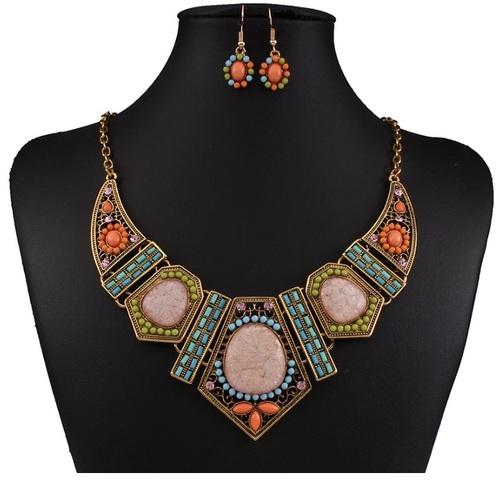 Tribal Society Multi Bead Pastel Hues Geometric Statement Necklace Set
