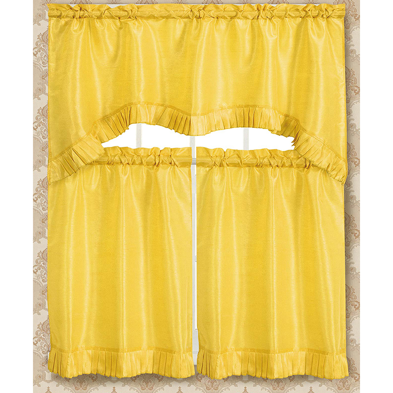 3 Piece Set  Bermuda Ruffle Kitchen Curtain