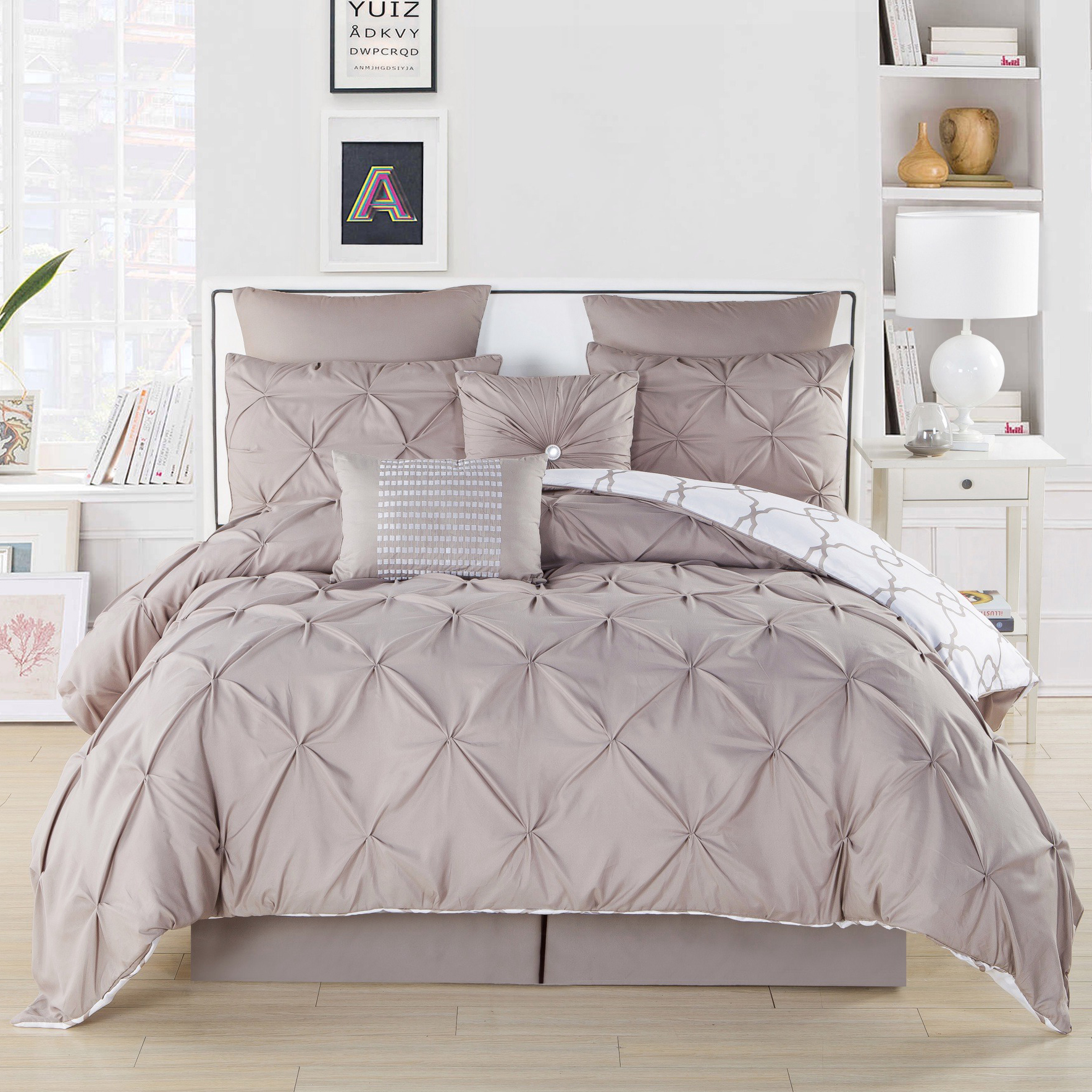Ruthy s Textile 3-Piece Pintuck Printed Reversible Duvet Cover Set