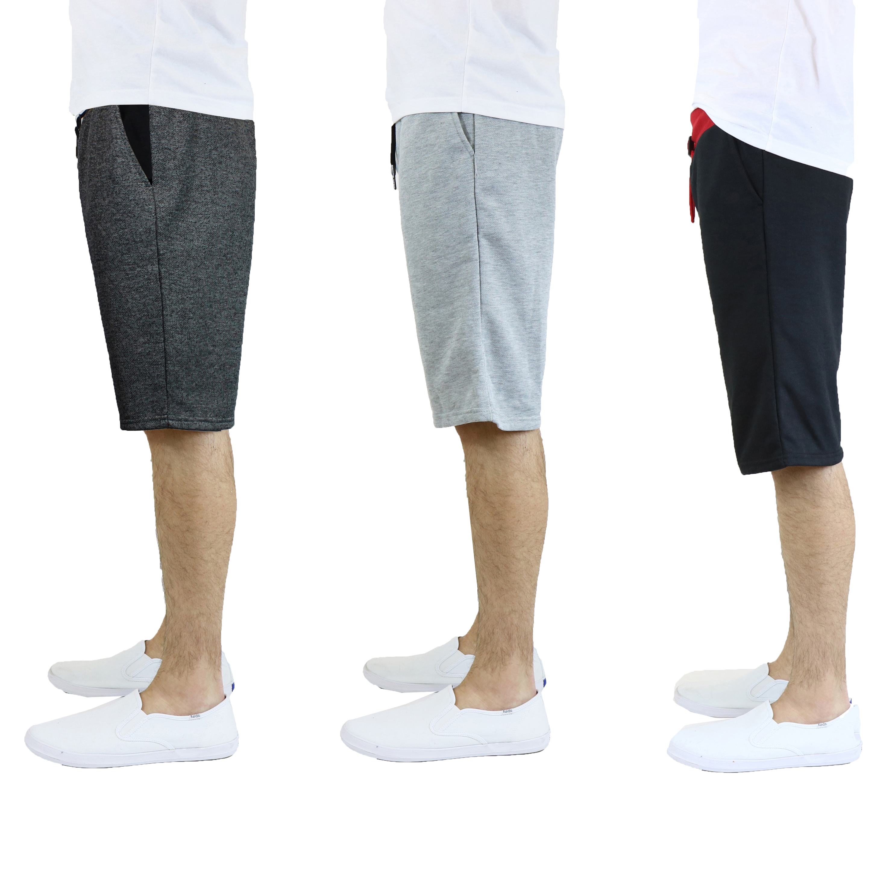 3 Pack Mens French Terry Contrast Shorts