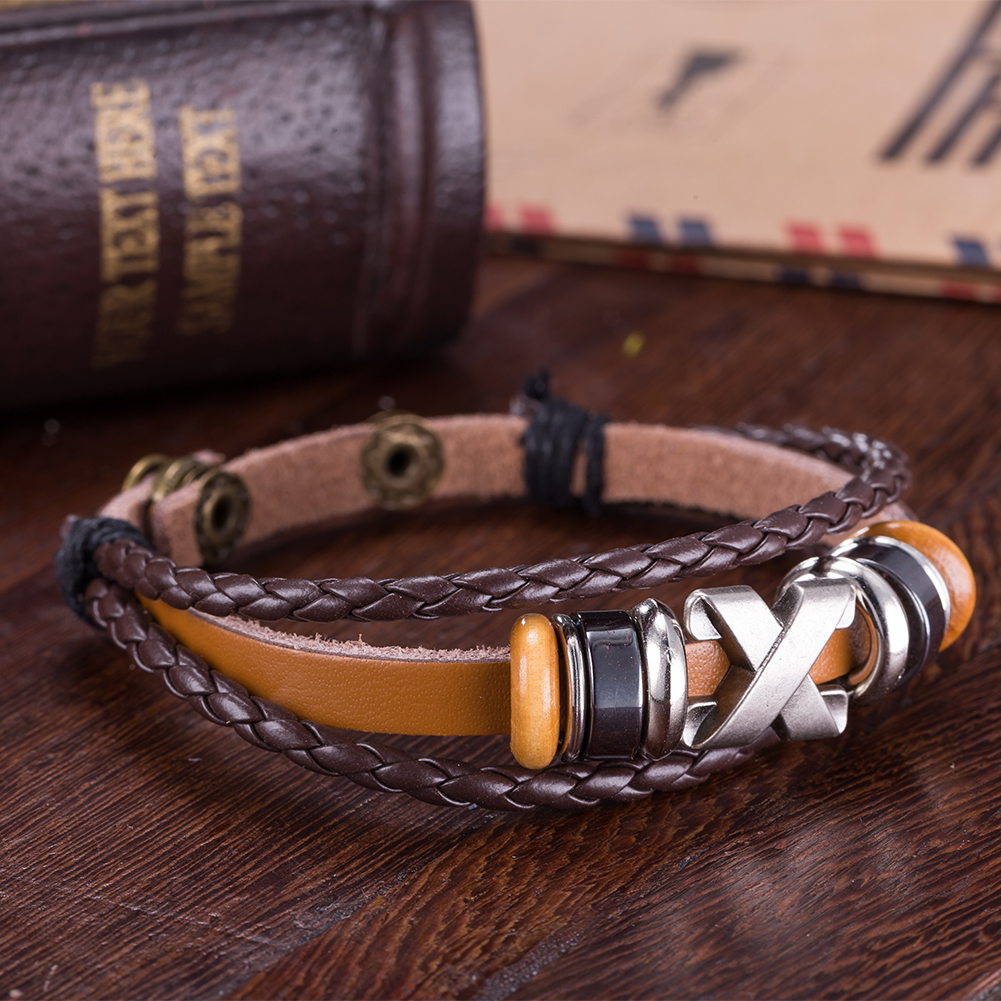 Brown Leather Metallic X Marks the Spot Bracelet