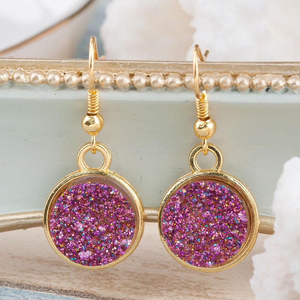 Gold Plated Druzy Drop Earrings - 4 Colors