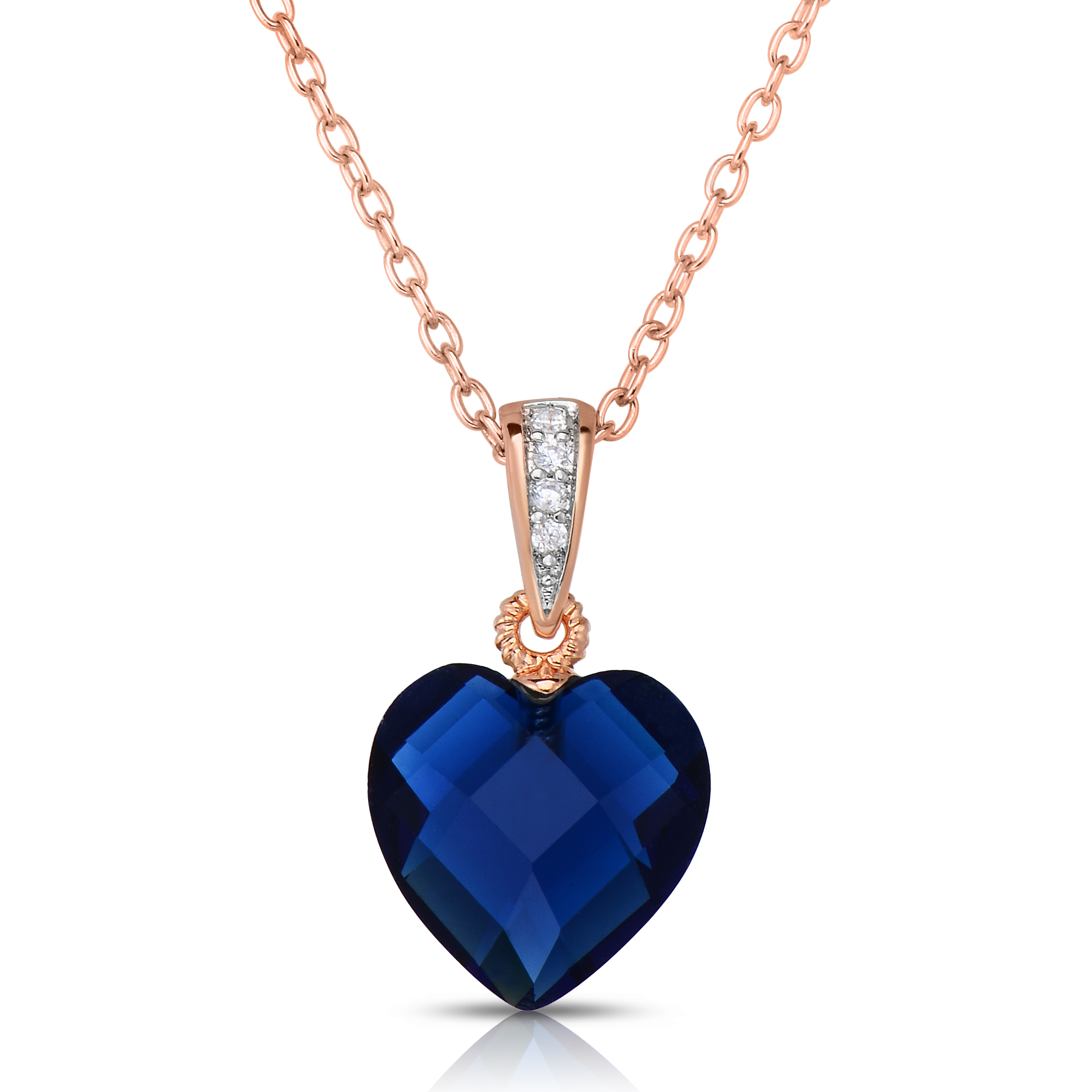 Sterling Silver Blue Cubic Zirconia Heart-shape Necklace 8589f3dbe867