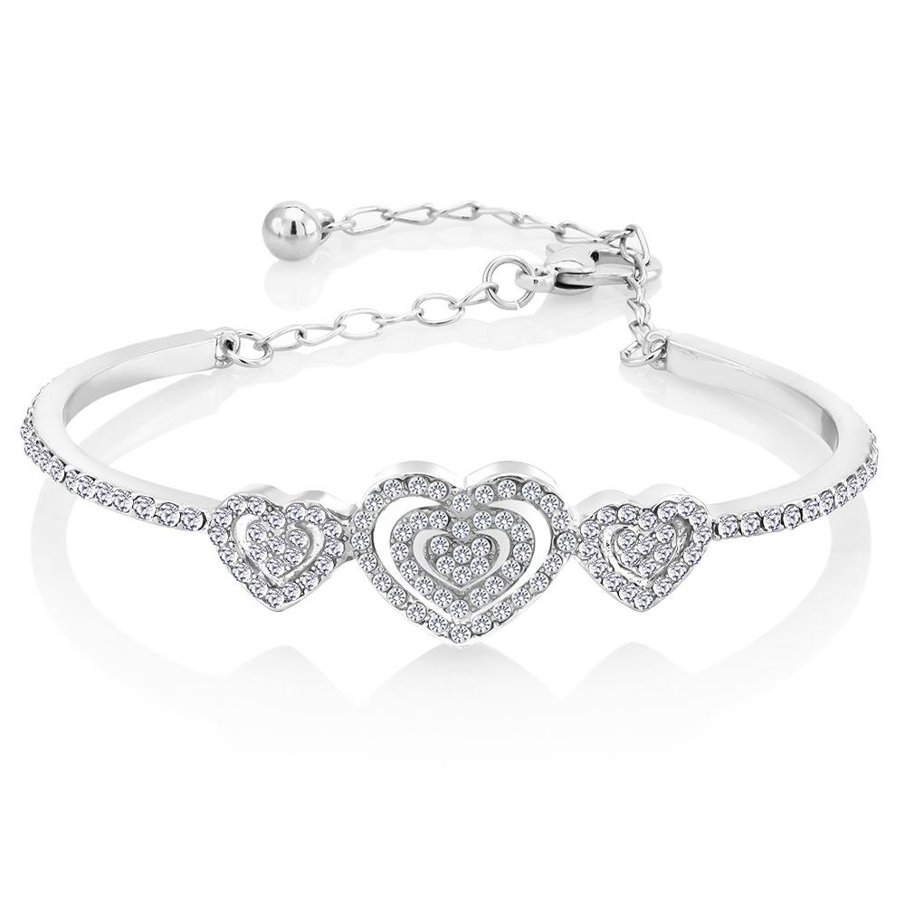 Cubic Zirconia Triple Heart Bangle Bracelet