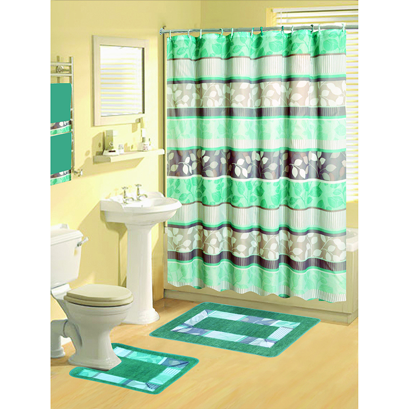 Boutique Deluxe Shower Curtain And Bath Rug Set: 17 Piece