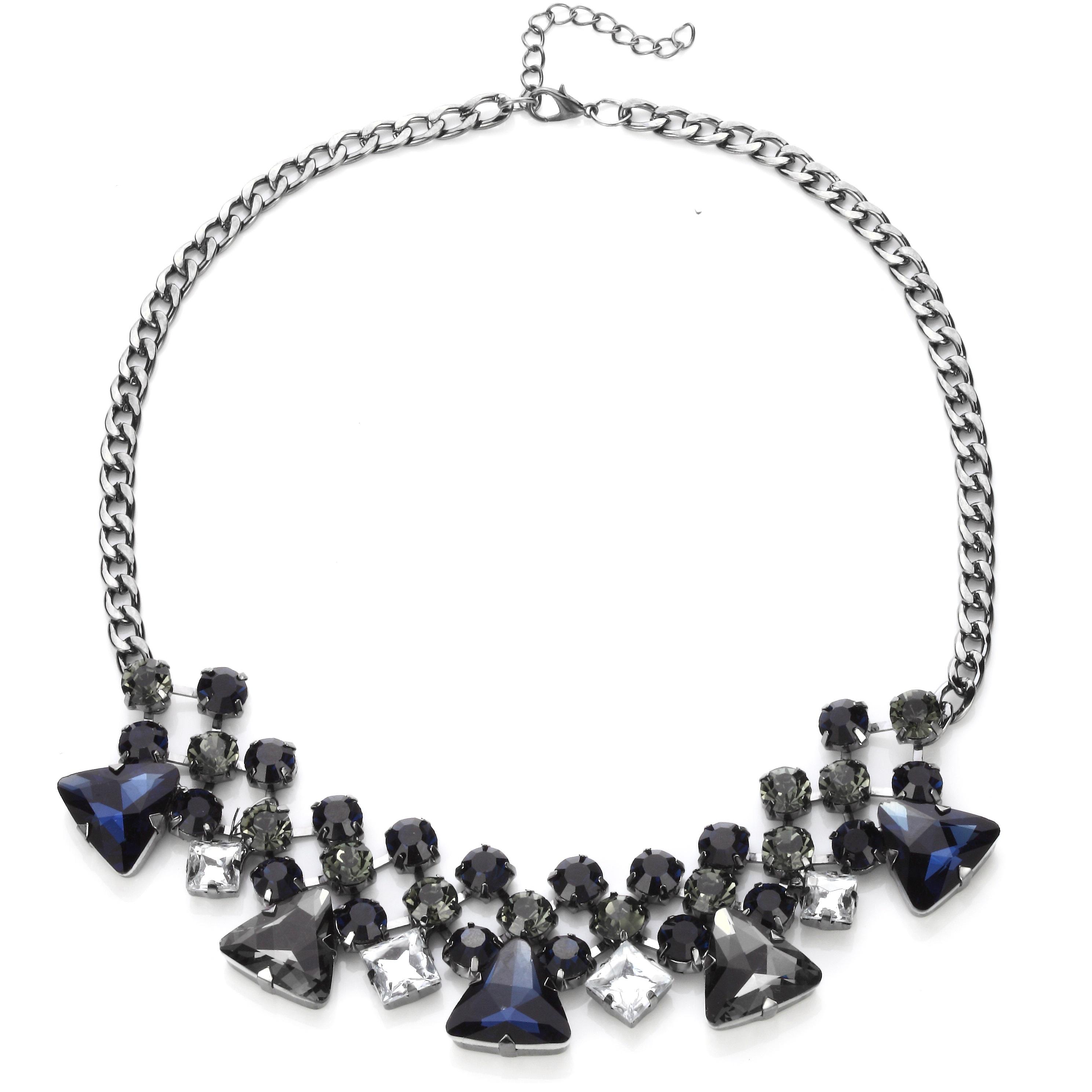 Estate Sparkling Sapphire Gems Statement Necklace 3646893