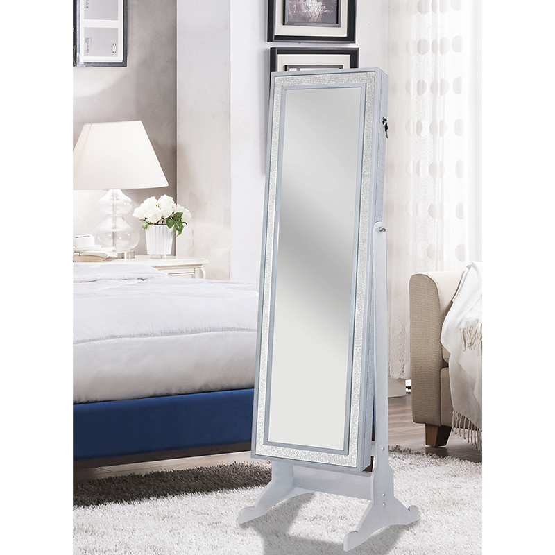 Chic Home Glitzy Modern Crystal-Bordered Jewelry Armoire Cheval Mirror 7b23ea912ff7