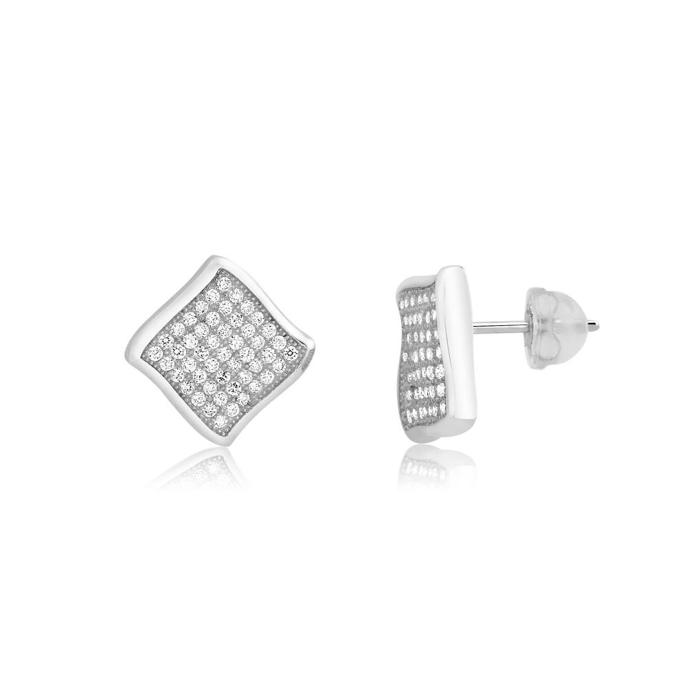 Sterling Silver Micro-Pave Diamond Stud Earrings
