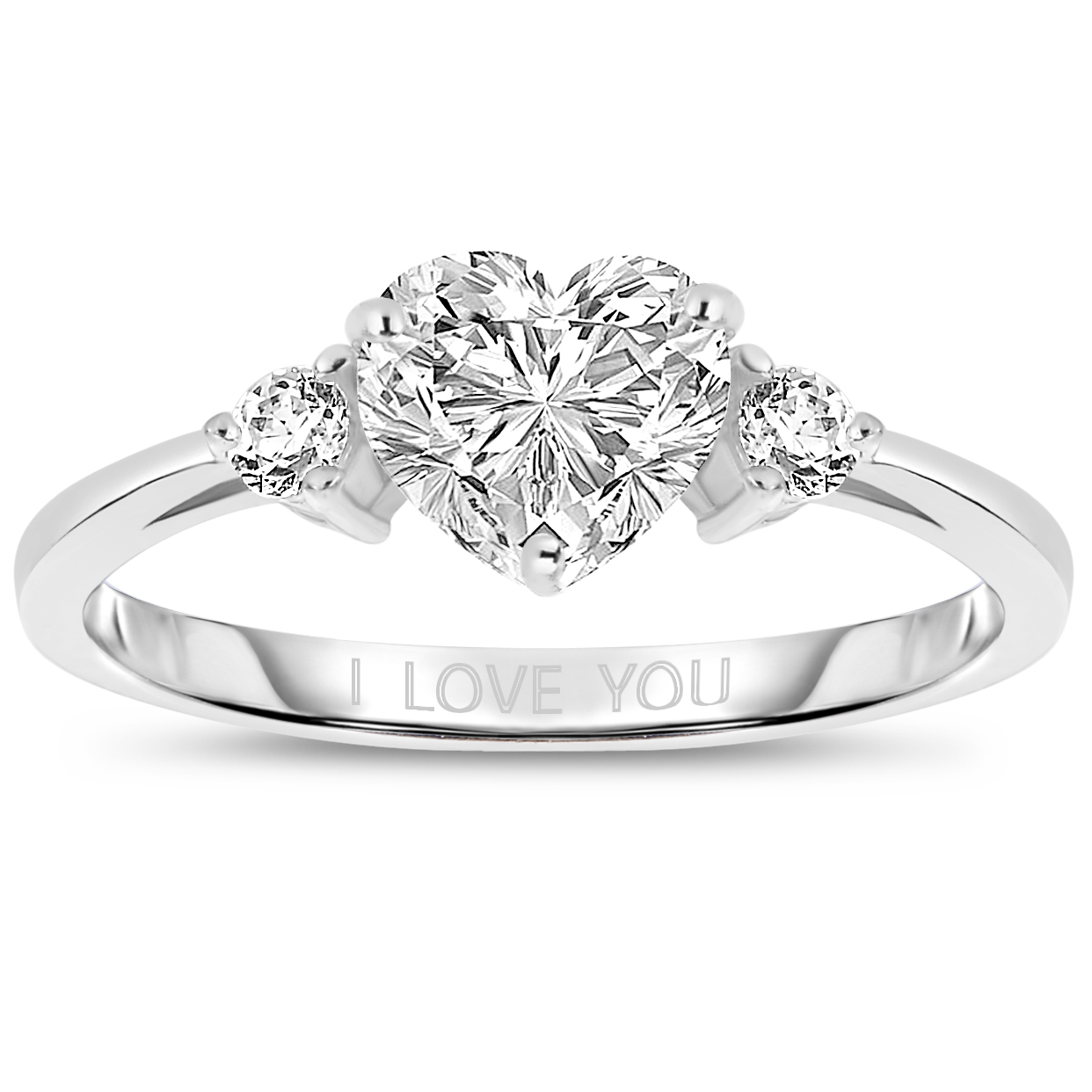 Sterling Silver Cubic Zirconia Heart  I Love You  Ring