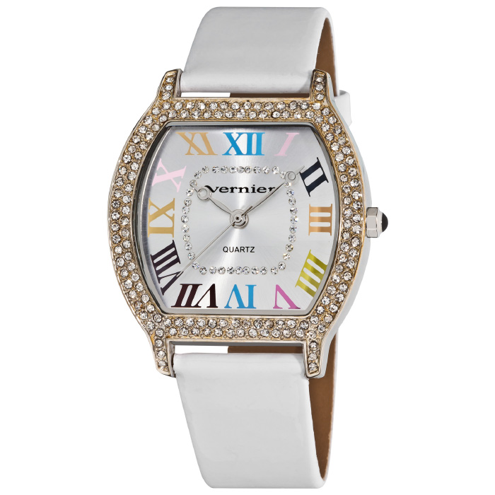 Vernier Women s Colorful Roman Numeral Dial White Strap Watch