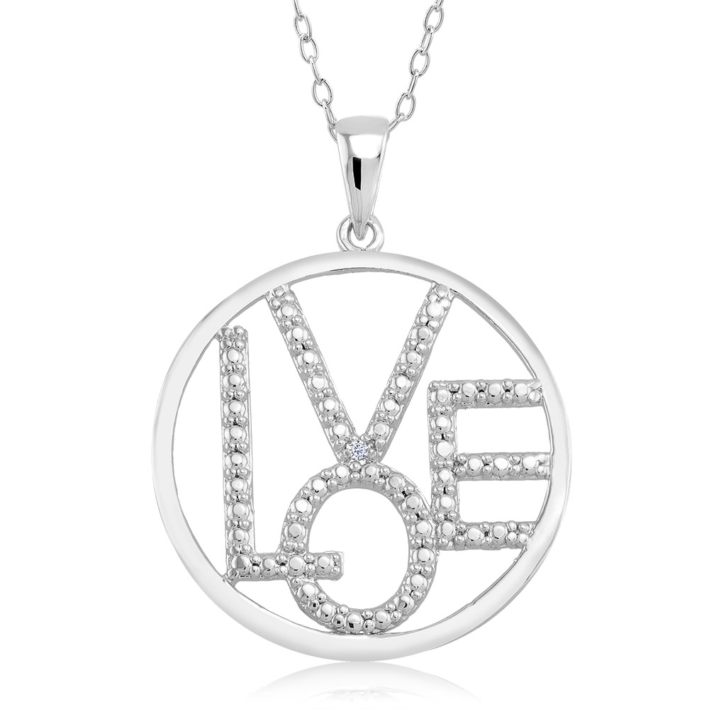 1 10 CTW Diamond Accent Necklace - Circle Love