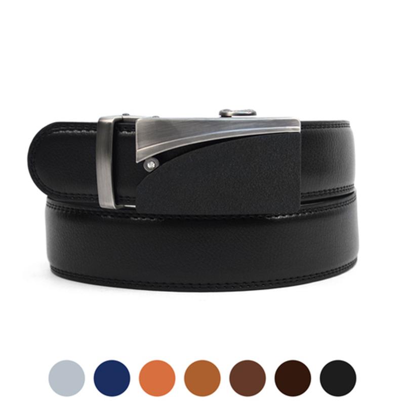 2-Pack Mystery Men s Genuine Leather Sliding Buckle Ratchet Belt