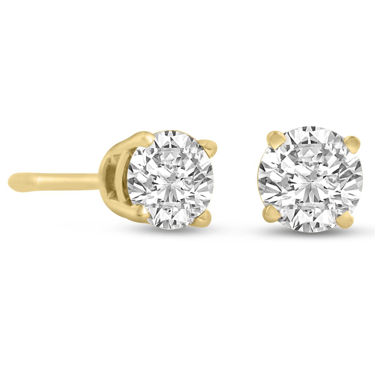 Certified 1 2ct Natural Genuine Diamond Stud Earrings In 14 Karat Yell