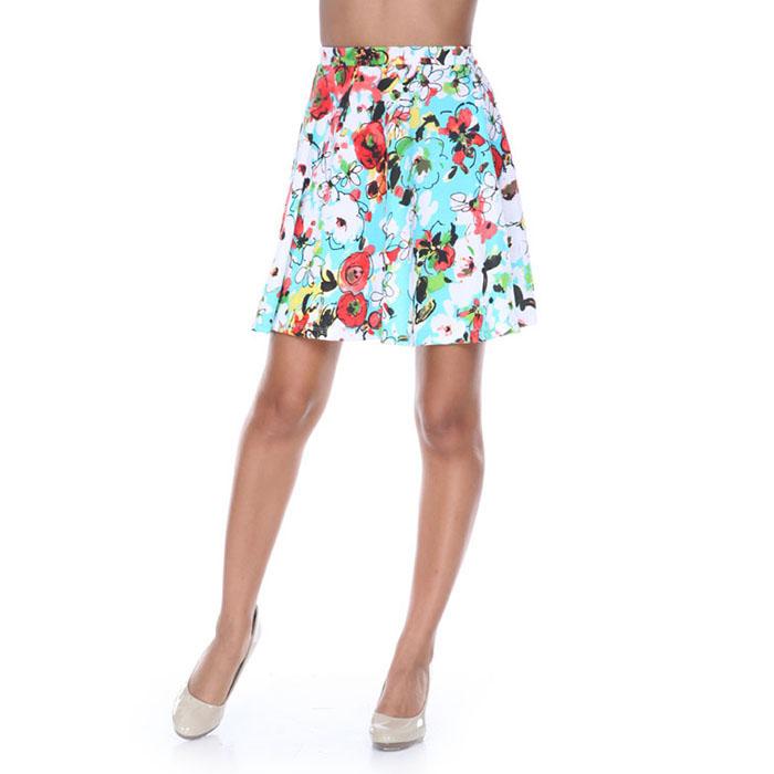 Teal  amp  Red Flower Burst Fit and Flare Skater Skirt