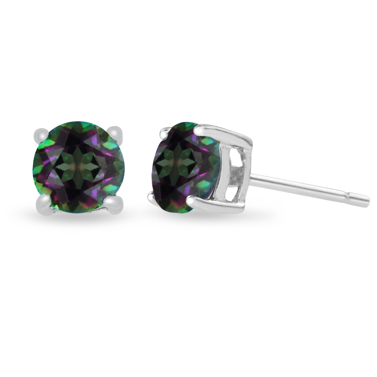 2ct Round Rainbow Amethyst Earrings
