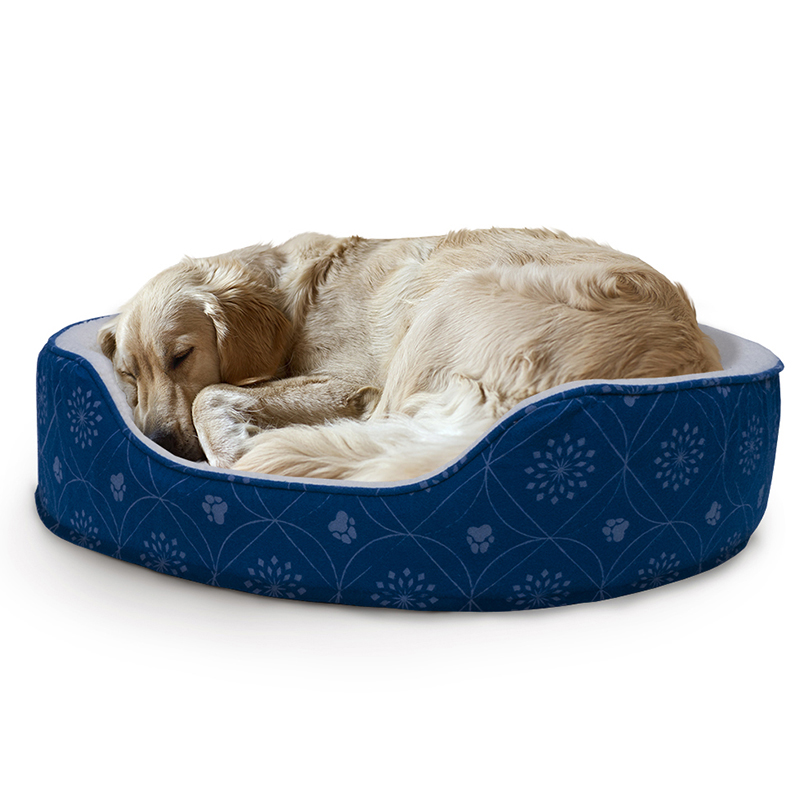 Flannel Print Oval Pet Bed cd2bb538c4ba